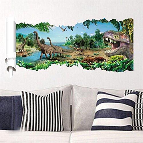 3D Dinosaurs Wall Stickers Jurassic Park Home Decoration. Diy Cartoon Kids Room Animals Decals Movie Mural Art Posters 4.0^.