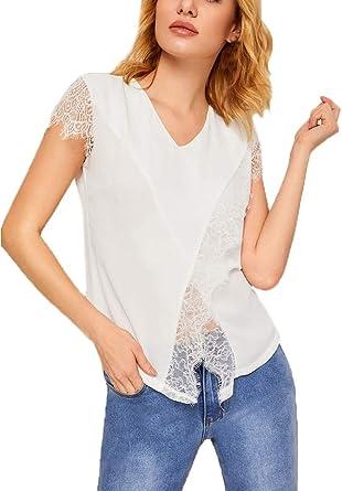 Mujer Chiffon Blusas Camisas Verano Elegante Moda Splice Encaje Blusas Superiores Manga Corta V-Cuello Crossover Irregular Camisas Blusa Casual: Amazon.es: Ropa y accesorios