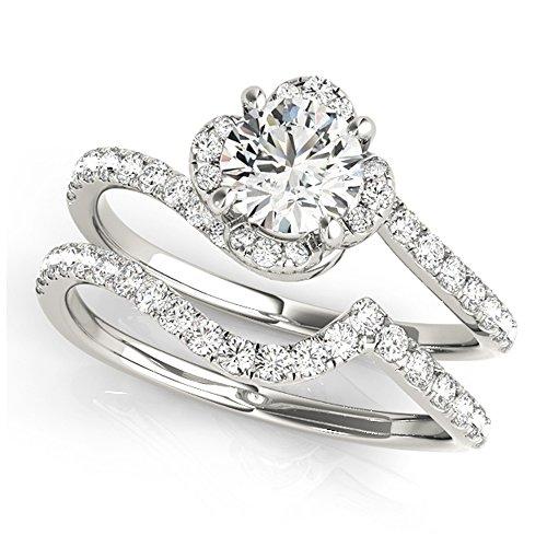 14K White Gold Unique Wedding Diamond Bridal Set Style MT51030