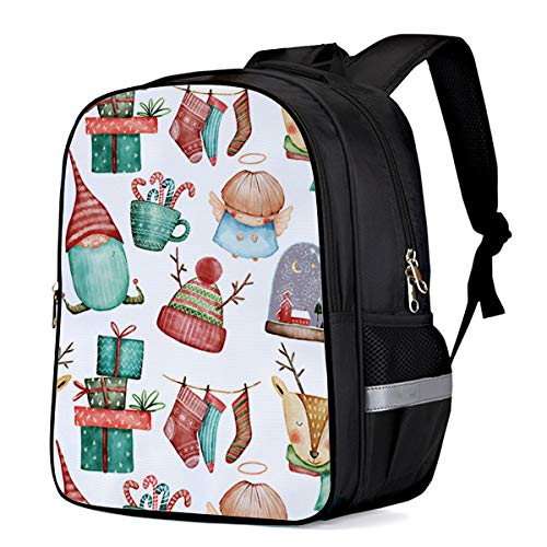 - Lightweight Children's Backpacks Student Bookbag School Cartoon Kids Book Bag Dreamlike Holiday Ornaments Deer Socks