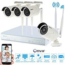 KKmoon 4-Channel 720P WIFi NVR Video Security System DVR Kit with 4Pcs Megapixels Wireless WIFi Weatherproof Indoor / Outdoor IP Cameras, IR-CUT Filter Infrared Night Vision, Plug and Play