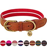 Leather Dog Collar - Blueberry Pet 8 Colors Polyester and Soft Genuine Leather Webbing Dog Collar in Red and White, Medium, Neck 15