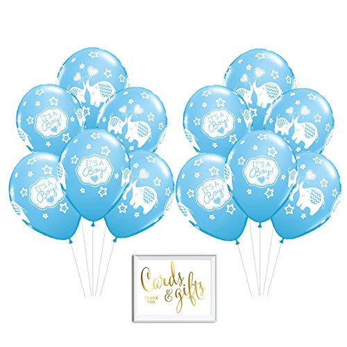 Andaz Press Bulk High Quality Latex Balloon Party Kit with Gold Cards & Gifts Sign, Boy Elephant Baby Blue Baby Shower Printed 11-inch Balloons, Wholesale 50-Pack