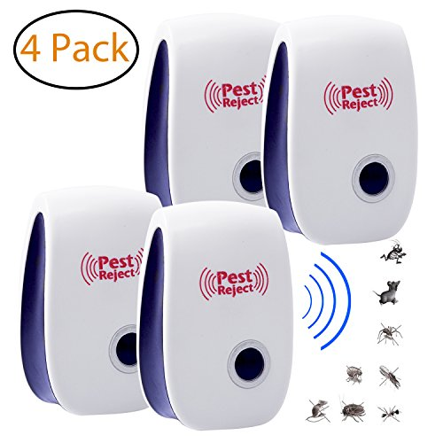 Fireflyhome 4 Pack Plug In Ultrasonic Pest Repeller (4 pack) - Squirrel Rodent, Mice Rats Insects Mosquito Repellent Outdoor and Indoor - Get All The Pest Control
