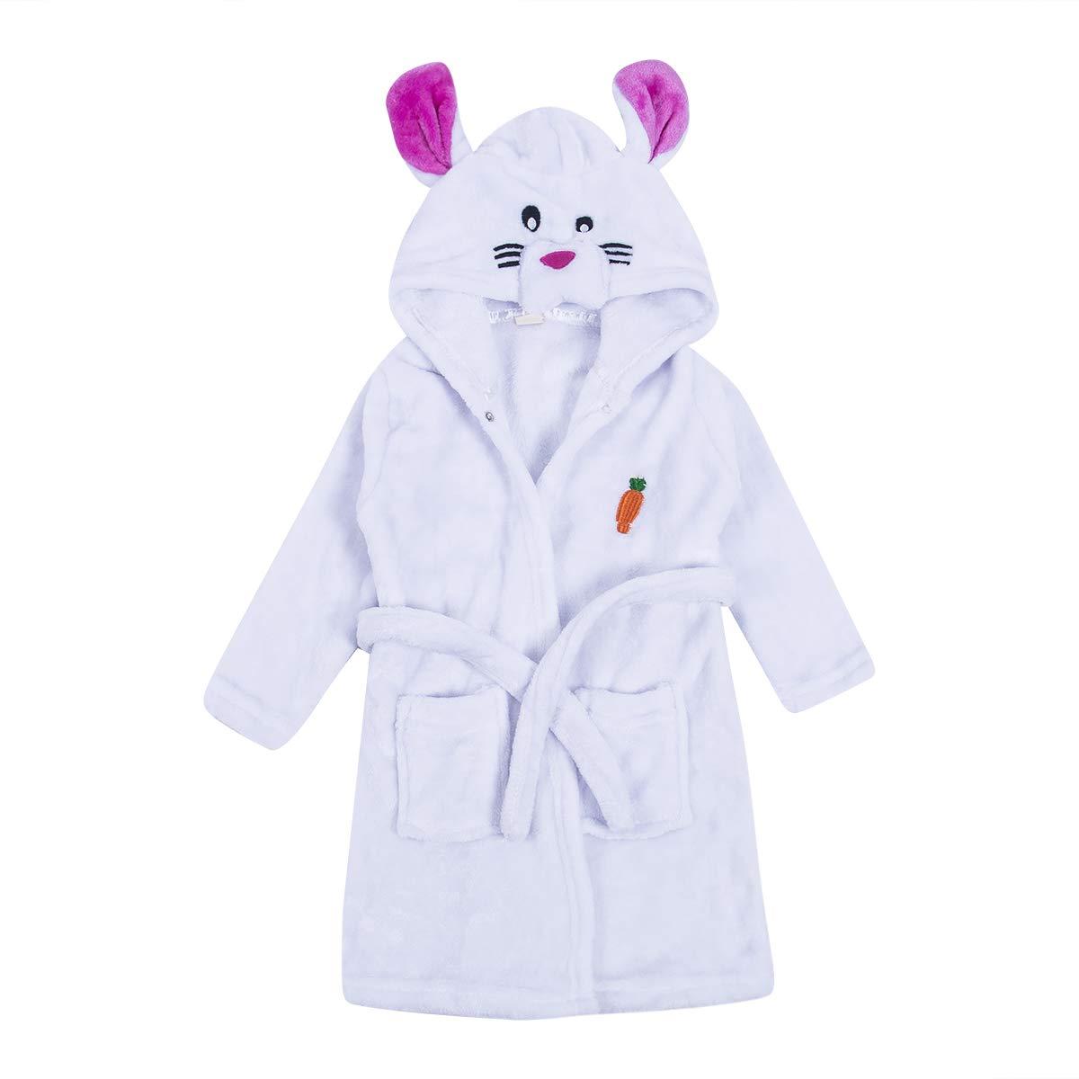 Baby Bathrobe Animals Hooded Kids Toddler Boy Girl Long Sleeve Flannel Hoodies Pajamas Sleepwear 1-8T