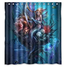 """Colorful Mermaid Shower Curtain,Water, Soap, and Mildew resistant - Machine Washable - 12 Shower Hooks are Included-66"""" x 72"""""""