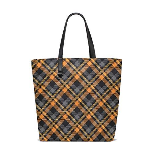 FAJRO Vintage Grid Shoulder HandBag Tote Bag