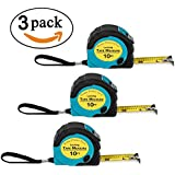 Where's My Tape Measure? - 3 Pack of 10 ft, Locking, Auto-Wind Measuring Tapes with Fractions. Accurate, Easy to Read & EASY TO FIND!