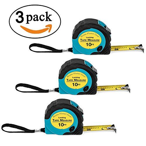 Read Tape Measure (Where's My Tape Measure? - 3 Pack of 10 ft, Locking, Auto-Wind Measuring Tapes with Fractions. Accurate, Easy to Read & EASY TO FIND!)