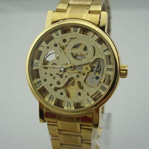 39822 Winner Hot Hollow Skeleton Roman Numerals Gold Band PrfYv3Qb71 Automatic aucGjnOd Mechanical Mens Wrist Watch - Golden Dial watch time clock wrist hand arm aheuuieughnvbnc234 ghvnbmkl456 ghjjfwe This product is elegant Men's Mechanical Wris