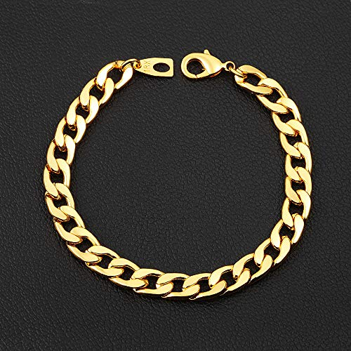 Chain Lobster Fashion Bracelet - accessal Unisex 18K Gold Plated Lobster Claw Clasp Cuban Link Chain Bracelet Fashion Jewelry