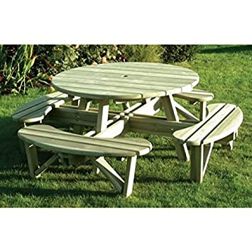 Fabulous Large Circular 8 Seat Wooden Picnic Bench Amazon Co Uk Pabps2019 Chair Design Images Pabps2019Com