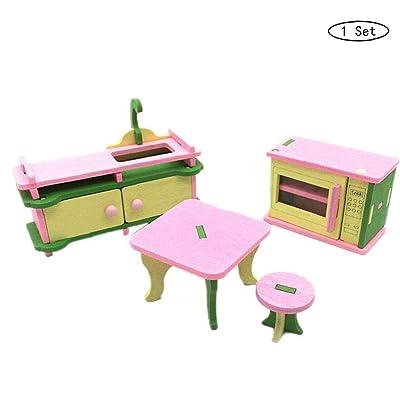 Mini Juguetes De Madera Para Muebles Casa De Muñecas De Madera Cocina/En Vivo De Habitaciones/Muebles De Baño Conjunto Para Los Niños Del Juego Del Juguete: Juguetes y juegos
