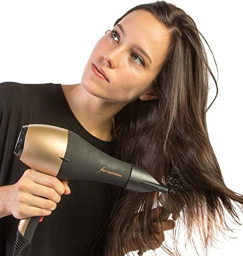 LIMITED TIME SPECIAL! PROFESSIONAL CERAMIC HAIR DRYER - Advanced Infrared and Ionic Blow Dryer with Long-Life Salon A/C Motor, Very Hot, Hot, Cool AND Instant Cool Shot, 1900W 8' Cord, Velvet Pouch by Fine Expectations (Image #3)