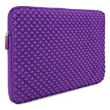 Laptop Sleeve, Evecase 17 - 17.3 inch Diamond Foam Splash & Shock Resistant Neoprene Universal Sleeve Case Bag for Chromebook Ultrabook Laptop Notebook Computer - Purple