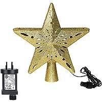 LIXSLT Luz de projeção 3D Hollow Star for Chrismats Tree Topper com bola de LED rotativa integrada, ouro/prata (cor…