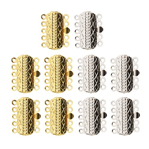 Baoblaze 5 Strand 10 Pieces Brass Plated Gold Silver Tone Pinch Push Clasps Jewelry Making Mixed Necklace Clasps Bracelet Ends Jewelry Finding Fit Beading Supplies
