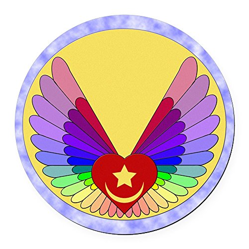 (CafePress - Winged Heart Round Car Magnet - Round Car Magnet, Magnetic Bumper Sticker )
