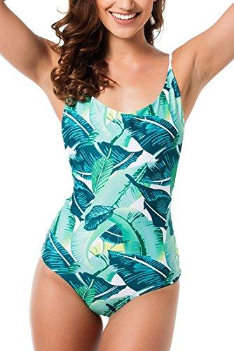 Womens Bikini Swimwear Swimsuit Tree Leaf Print - 8