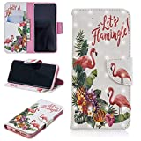 for Samsung Galaxy S9 Wallet Case and Screen Protector,QFFUN Glitter 3D Pattern Design [Flamingo] Magnetic Stand Leather Phone Case with Card Holder Drop Protection Etui Bumper Flip Cover