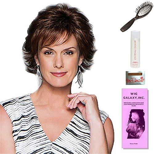 Carte Blanche by Gabor, Wig Galaxy Hair Loss Booklet, 2oz Travel Size Wig Shampoo, Wig Cap, & Loop Brush (Bundle - 5 Items), Color Chosen: G8 Chestnut Mist by Gabor & Wig Galaxy