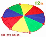 PLAY 10 Kids Play Parachute 12ft Kids Sport Parachute with 24 Pit balls and 8 Easy Hold Handles for Team Game