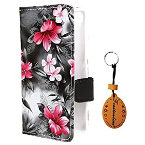 Traitonline Colorful Flower Series Sony Z3 Flip Leather Wallet Pouch with Lanyard Case Cover for Sony Xperia Z3(Black)