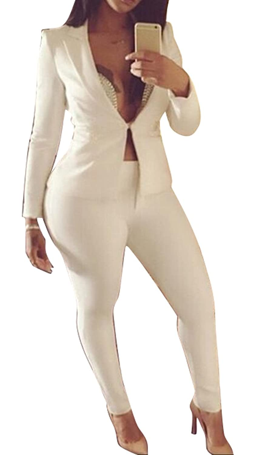 Mlg Womens Casual One Button Solid Color Blazer Skinny Pants Suit