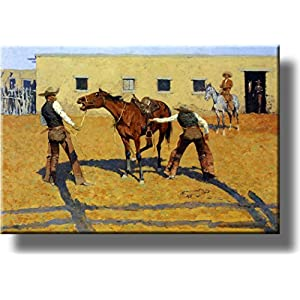 His First Lesson from Cowboy by Remington Picture on Acrylic , Wall Art Décor, Ready to Hang!