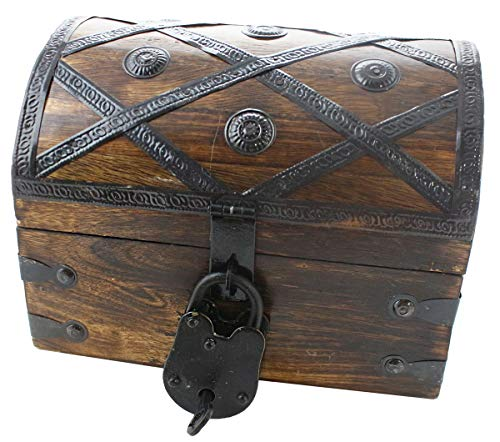 Well Pack box Treasure Chest Pirate Box 8x6x6 With Lock Skeleton Key By Well Pack Box (Small Deluxe) -