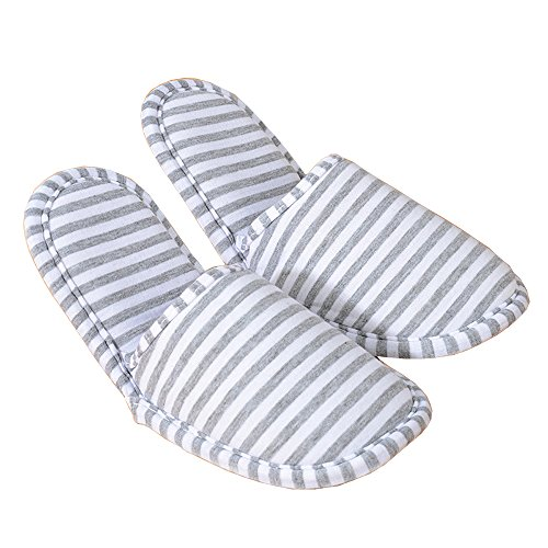 Comfysail Unisex Foldable Soft Slippers with Portable Bag Non-Slip Cotton-Padded Flip Flop Shoes for Home Travel Hotel Gray Small