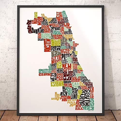 (Chicago Neighborhood Map Art Print, signed print of my original hand drawn Chicago typography map art)