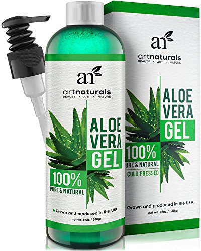 ArtNaturals Organic Aloe Vera Gel - for Face, Hair and Body - 100% Pure Natural and Cold Pressed - for Sun Burn, Eczema, Bug or Insect Bites, Dry Damaged Aging skin, Razor Bumps and Acne - 12 oz.