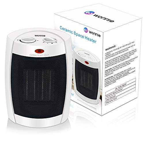 WONNIE Space Heater Portable Ceramic ETL Listed 900W/ 1500W/ Fan Mini Adjustable Thermostat for Office Home (White)