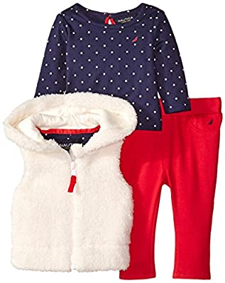 Nautica Baby-Girls Newborn 3 Piece Set with Teddy Fur Vest Dot Tee and Knit Pant