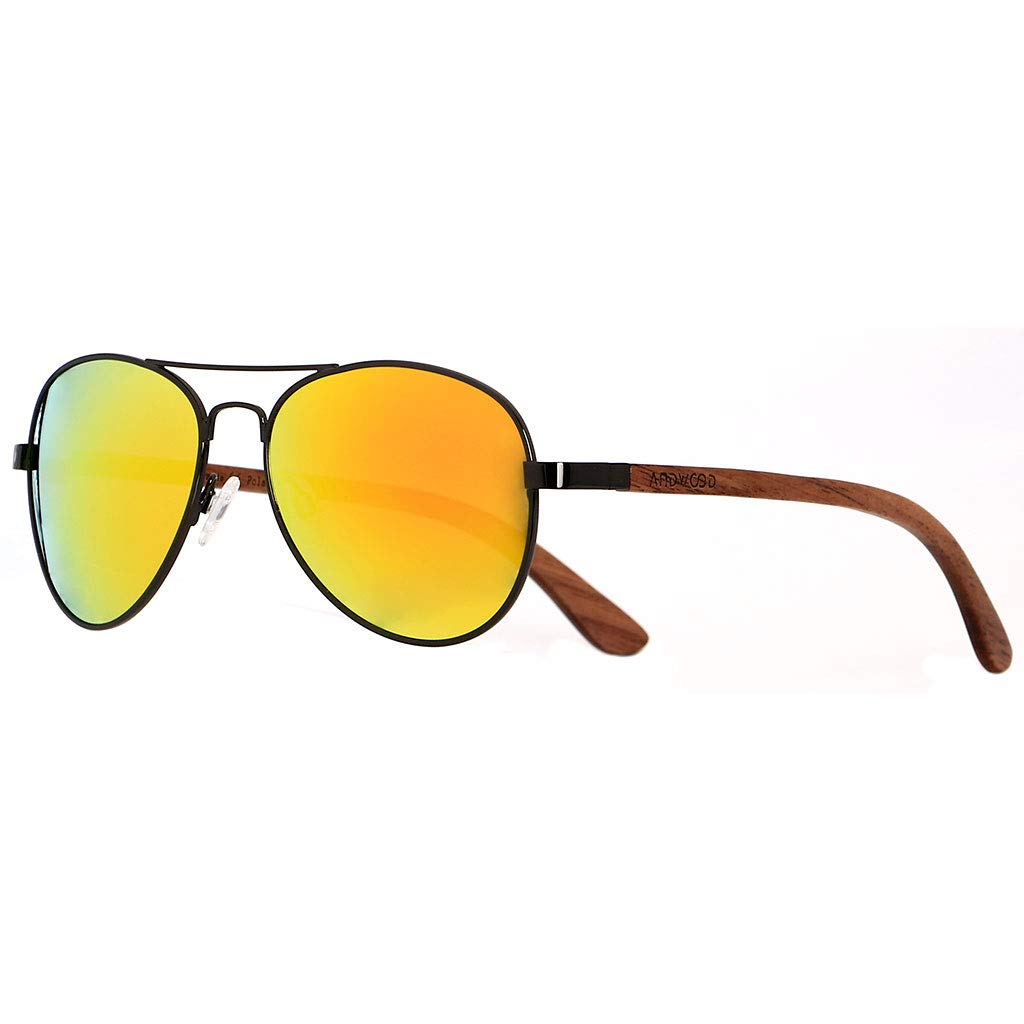 91f9c82b89d Amazon.com  ANDWOOD Aviator Polarized Sunglasses For Men and Women Wooden  eyewear with sun mirrored lens  Clothing