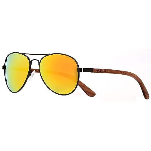 efbd9b0cb0c ANDWOOD Aviator Polarized Sunglasses For Men and Women Wooden eyewear with  sun mirrored lens