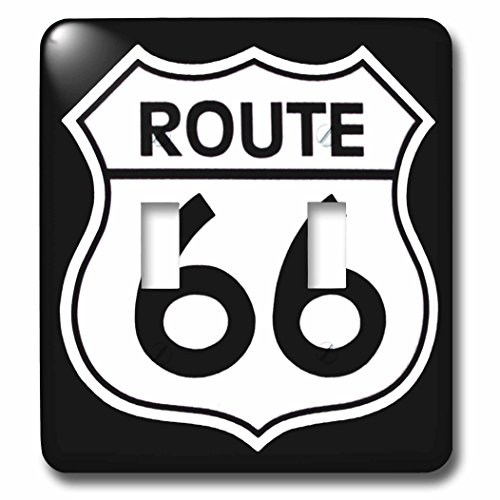 3dRose lsp_110012_2 Route 66, Black and White Double Toggle ()