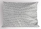 Lunarable Animal Print Pillow Sham, Crocodile Leather Pattern in Material Fashion Theme Design Print, Decorative Standard Queen Size Printed Pillowcase, 30 X 20 inches, Light Gray