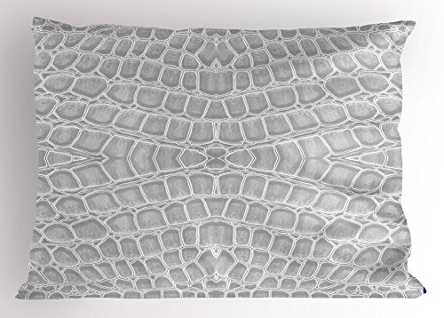 Lunarable Animal Print Pillow Sham, Crocodile Leather Pattern in Material Fashion Theme Design Print, Decorative Standard Queen Size Printed Pillowcase, 30 X 20 inches, Light Gray by Lunarable