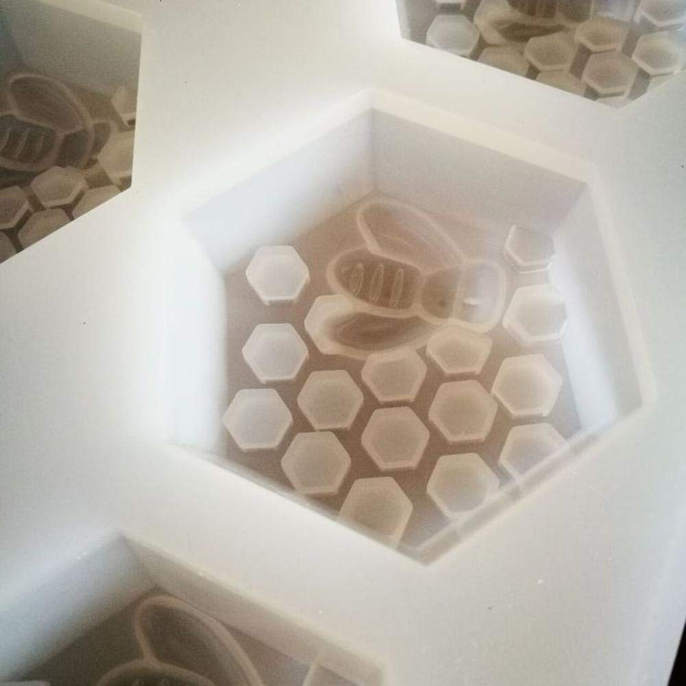 Haodene moldes de Silicona 6 Agujeros moldes Silicona de Abejas y Nido de Abeja para jabones
