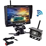 Podofo Wireless Backup Camera 7 HD TFT LCD Vehicle Rear View Monitor + Waterproof Back Up Camera Night Vision Parking System for Truck RV Trailer Motorhome Bus Camper