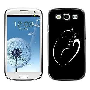 GagaDesign Phone Accessories: Hard Case Cover for Samsung Galaxy S3 - Minimalist Cat Kitten Black White