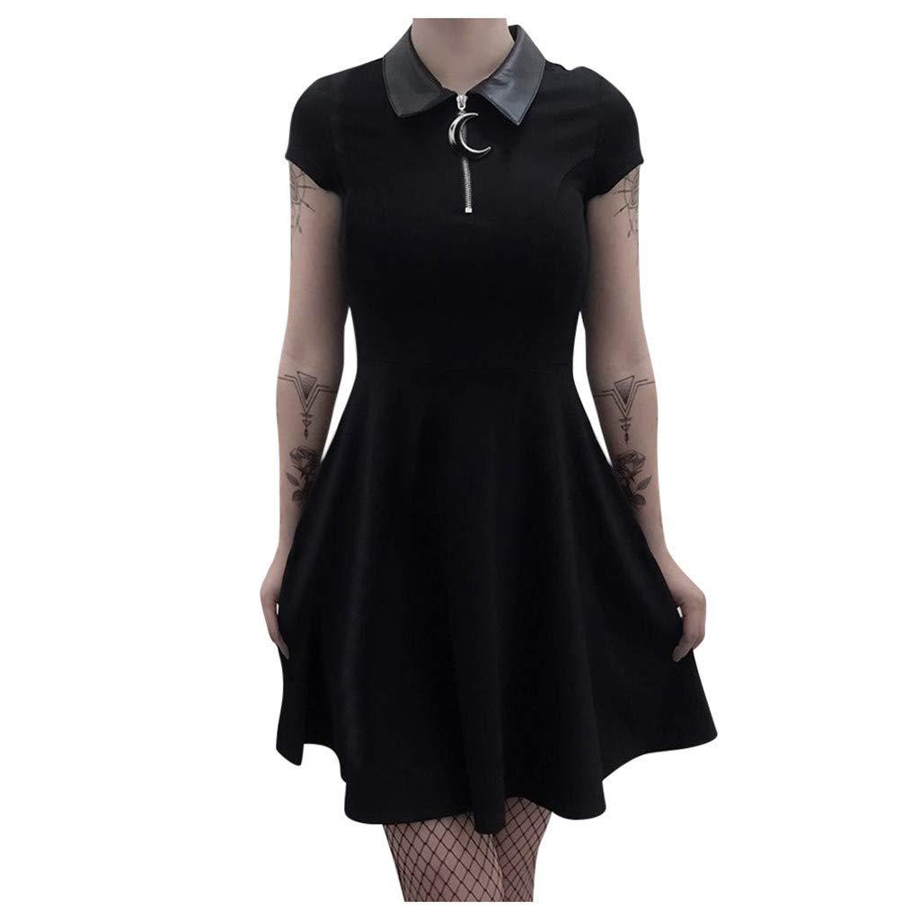 charmsamx Halloween Vintage Dress Gothic Short Sleeves Black Dress Casual Swing Flare Dress Stand Collar Zipper Midi A Line Dress Cocktail Party Dress Black, S by charmsamx