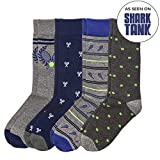 Basic Outfitters Men's Fun Patterned Novelty Dress Tennis Sock Polyester Spandex 4-Pack