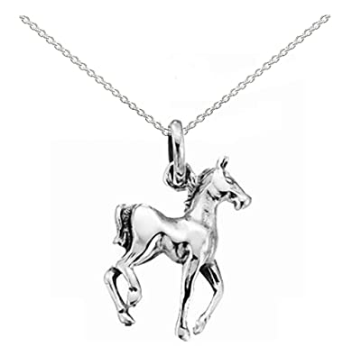 Childrens 925 sterling silver horse pendant with 12 silver chain childrens 925 sterling silver horse pendant with 12quot silver chain necklace gift boxed mozeypictures Gallery