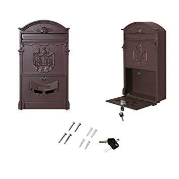 Vintage Retro Cast Wall Mount Security Mailbox Letter Storage Post Box Black 10 Home & Garden Home Security
