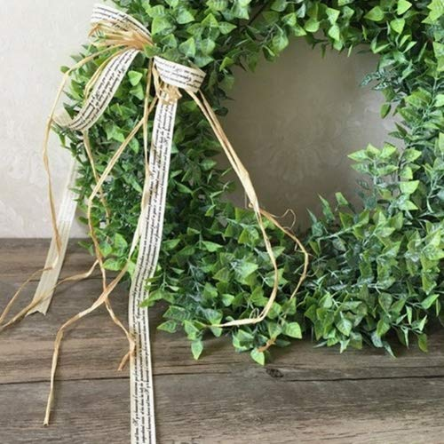 Zehui Green Leaf Wreath with Bow Door Hanging Wall Window Decoration, Small Wreath, Rustic Home Decor, Holiday Home Decor, Holiday Festival Wedding Decor.