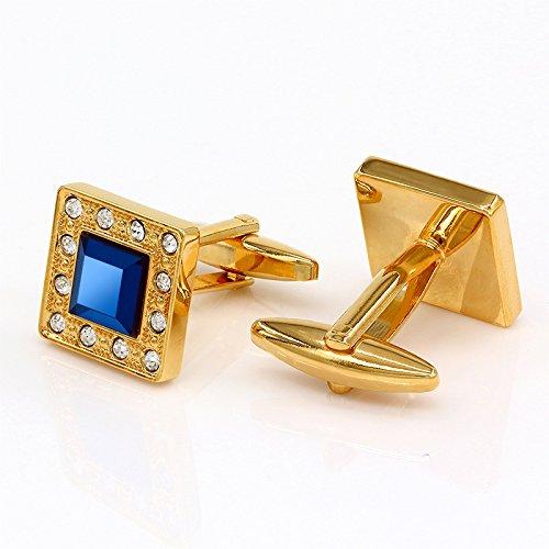 Kemstone Sapphire Crystal Zircon Gold Tone Mens - Sapphire Cufflinks