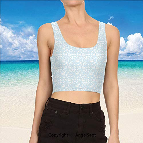 AngelSept Crop Tank top, 3D Digital Workout Running M,Pale Blue White Hearts Background ()